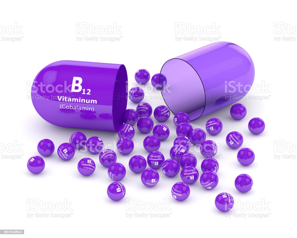 3d rendering vitamin B12 pill with granules over white stock photo