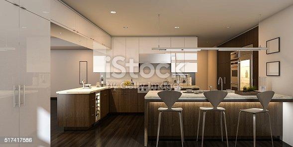 istock 3d rendering warm light beautiful kitchen 517417586