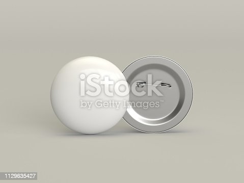 3d rendering white badge pin isolated on white background mock-up template