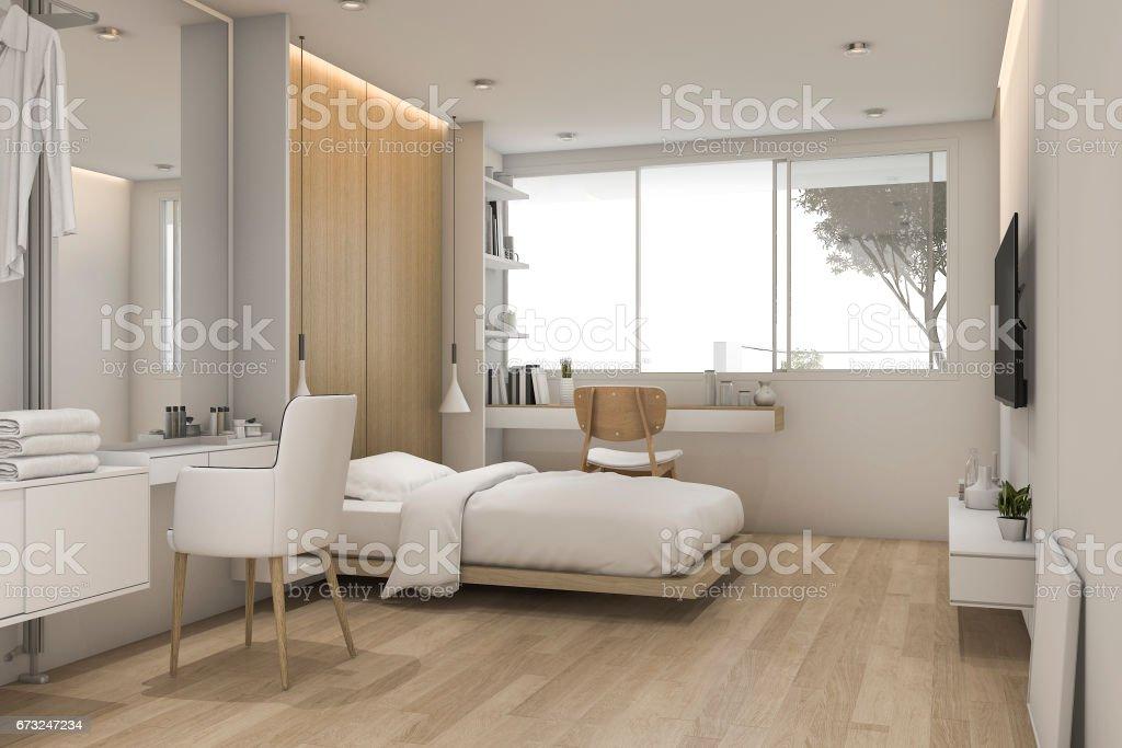 3d Rendering Weiße Schlafzimmer Mit Makeup Tisch In Der Nähe Von ...