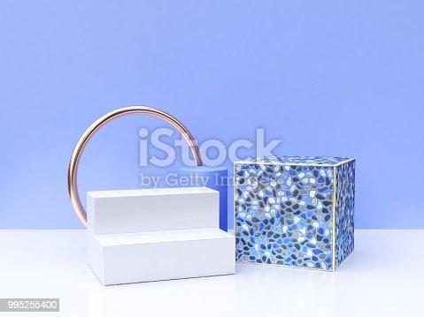 istock 3d rendering white blue scene geometric group shape 995255400