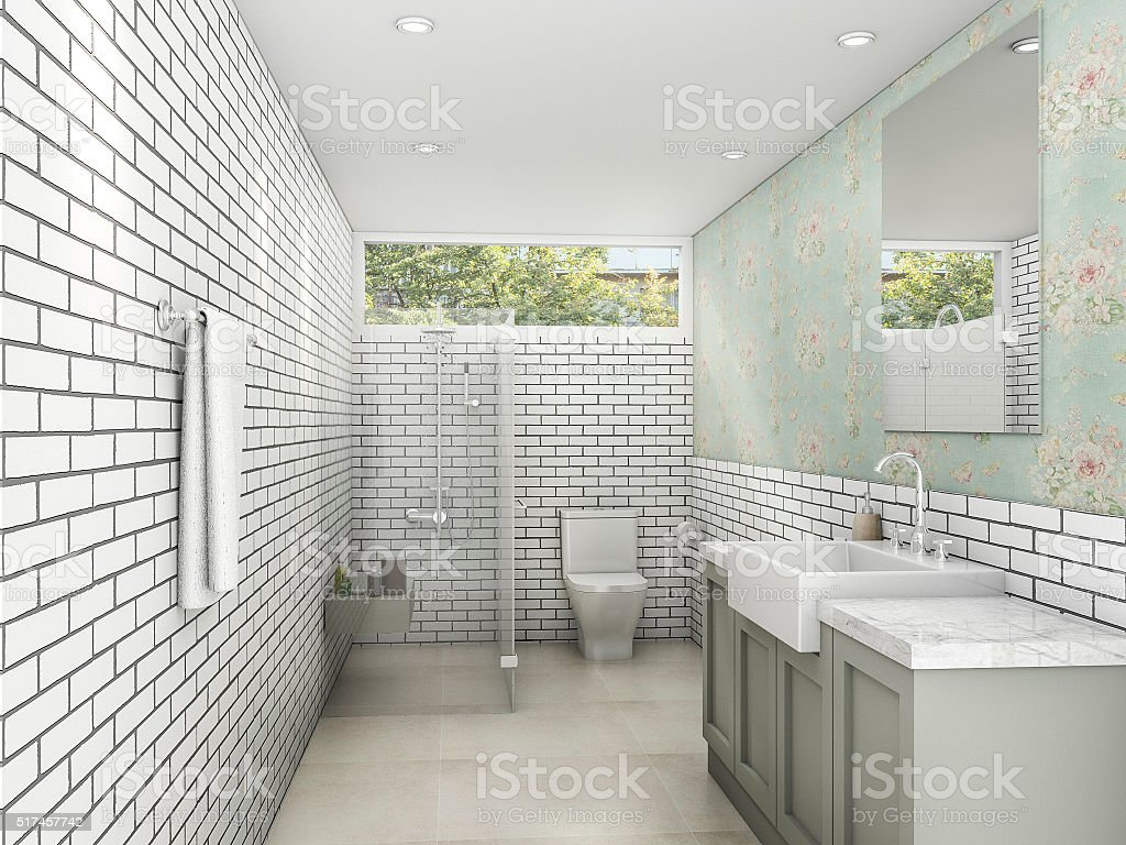 3d rendering white brick style with wallpaper bathroom and restroom picture id517457742