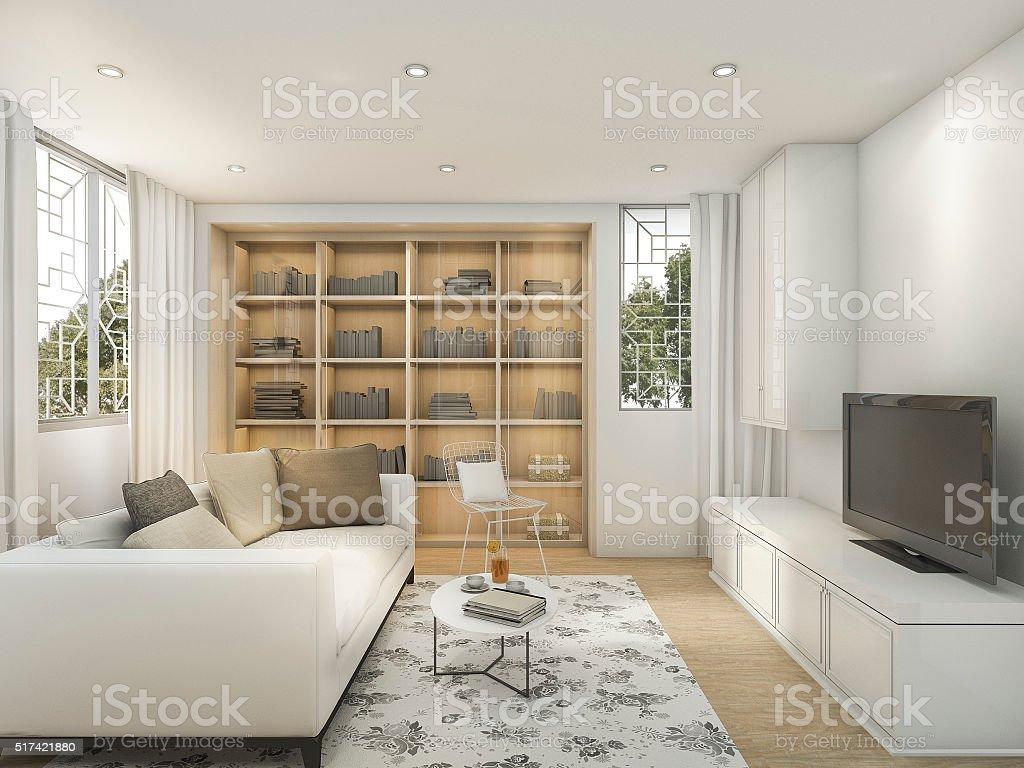 D rendering bianco brillante stile soggiorno con tappeto a fiori