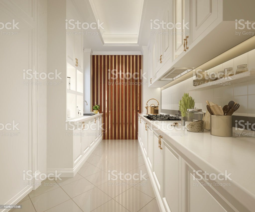 3d Rendering White Classic Kitchen With Luxury Design Stock Photo