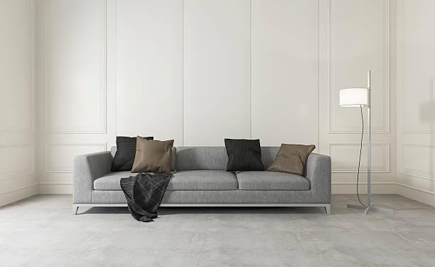 3d-rendering weiß saubere zimmer mit sofa - betonboden wohnzimmer stock-fotos und bilder