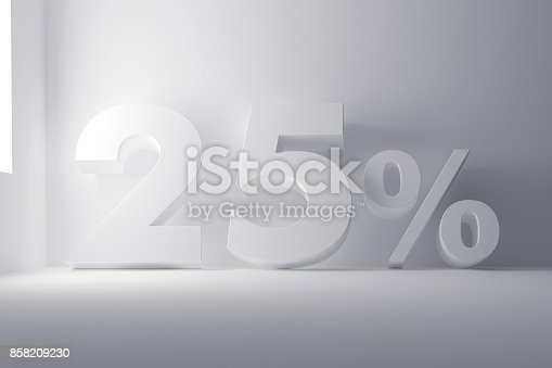 istock 3d rendering white colored 25 percentage sign on white clean background 858209230