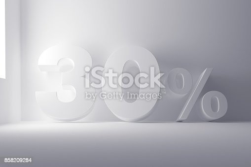 istock 3d rendering white colored 30 percentage sign on white clean background 858209284