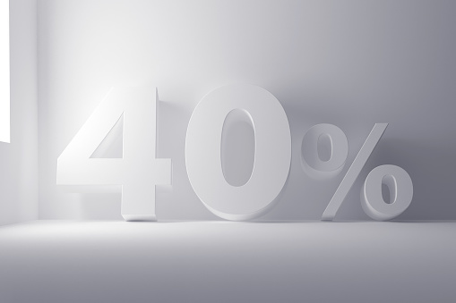 3d rendering white colored percentage sign on white clean background