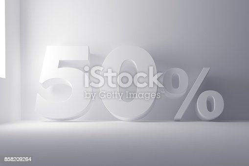 istock 3d rendering white colored 50 percentage sign on white clean background 858209264