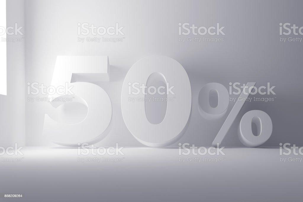 branco de renderização 3D colorido 50 porcentagem sinal sobre fundo branco limpo - foto de acervo