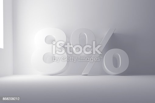 istock 3d rendering white colored 8 percentage sign on white clean background 858209212