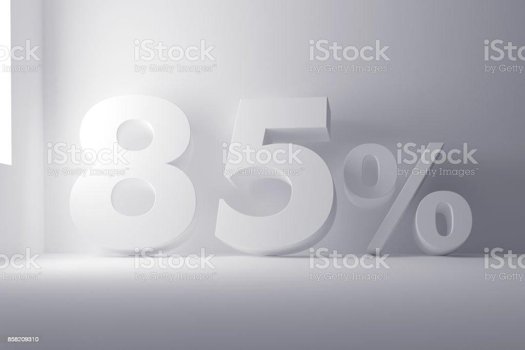 3 d レンダリング ホワイト色のきれいな白地の 85 パーセント記号 ストックフォト