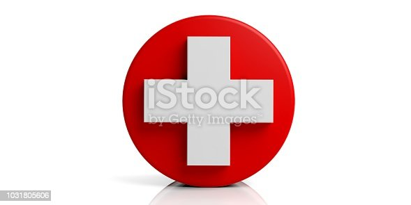 istock 3d rendering white cross on red base and white background 1031805606