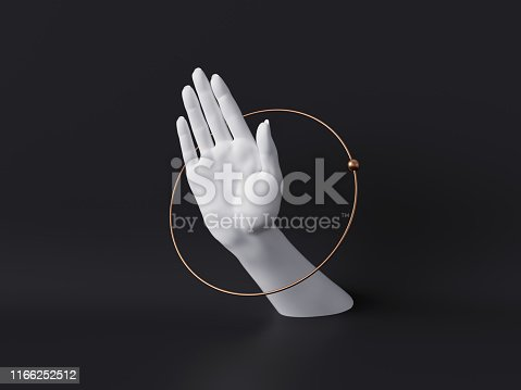 istock 3d rendering, white decorative female mannequin hand isolated on black background, body part inside round frame, golden ring, luxury fashion concept, fortuneteller or healer, clean minimal design 1166252512