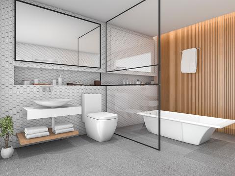 3d rendering white hexagon tile bathroom with wood decor