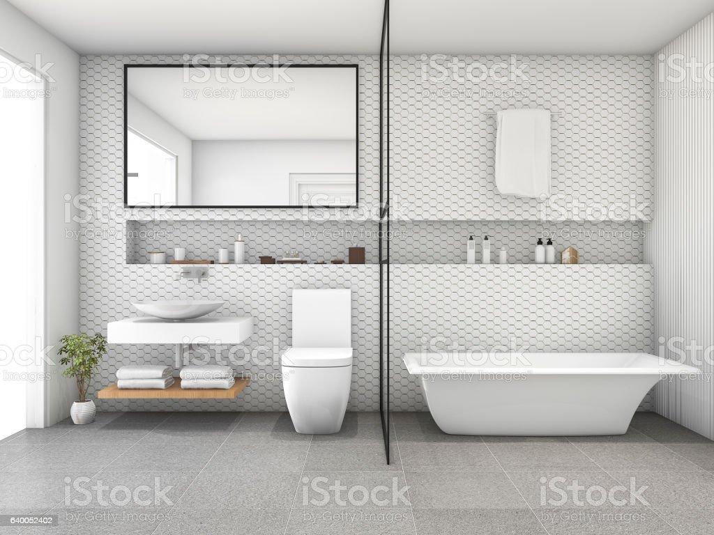 3d Rendering White Hexagon Tile Modern Bathroom Stock Photo & More ...