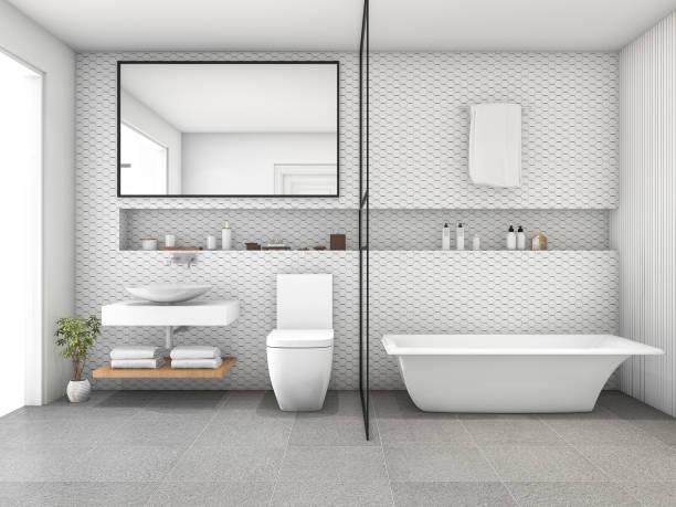 3d rendering white hexagon tile modern bathroom - minimalbadezimmer stock-fotos und bilder