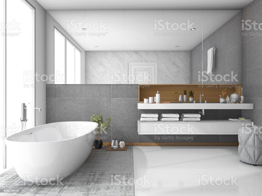 3d rendering white luxury bathroom stock photo