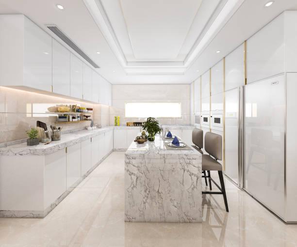 3D Rendering weißen minimale Küche mit Luxus-Dekoration – Foto
