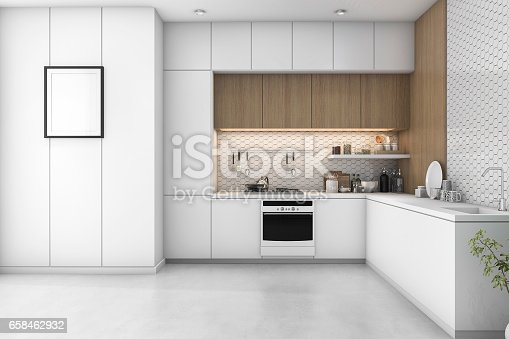 istock 3d rendering white minimal kitchen with wood decoration 658462932