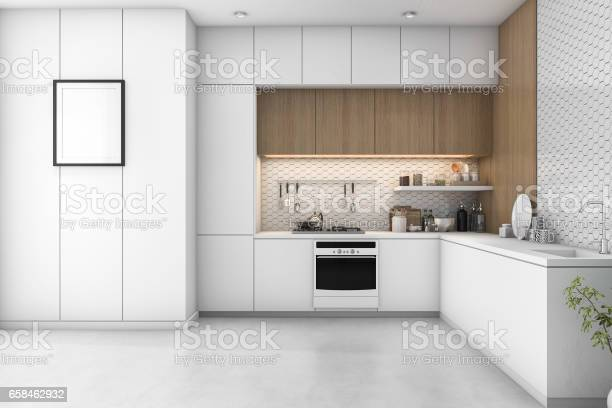 3d rendering white minimal kitchen with wood decoration picture id658462932?b=1&k=6&m=658462932&s=612x612&h=fedqj ik3  jtoxvqwsouqe06g6v9tlssnnvln q gs=