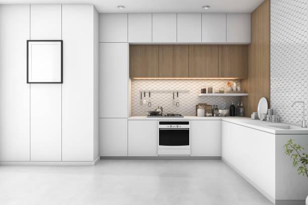 3d rendering weißen minimale küche mit holz dekoration - raumteiler weiß stock-fotos und bilder