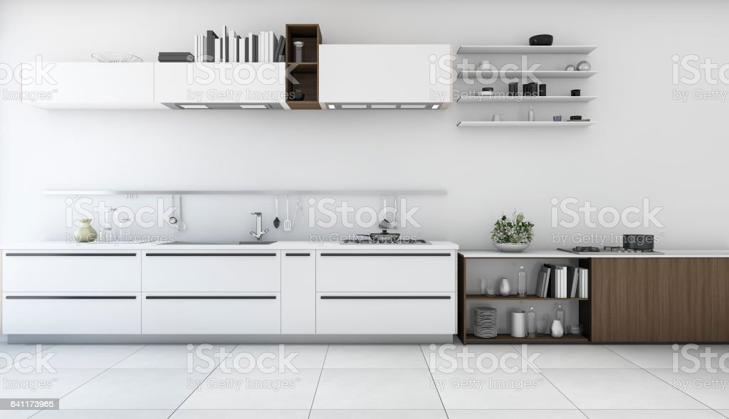 3d Rendering White Minimal Kitchen With Wood Shelf Royalty Free Stock Photo