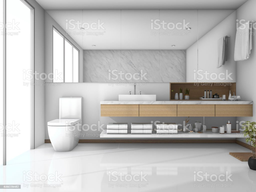 3d Rendering White Minimal Toilet With Light From Window Royalty Free Stock Photo