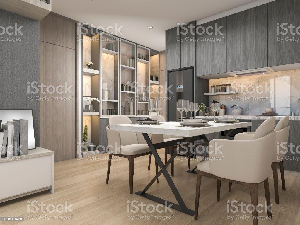 Eettafel Modern Wit.3d Rendering Wit Modern En Luxe Design Keuken Met Eettafel En Plank