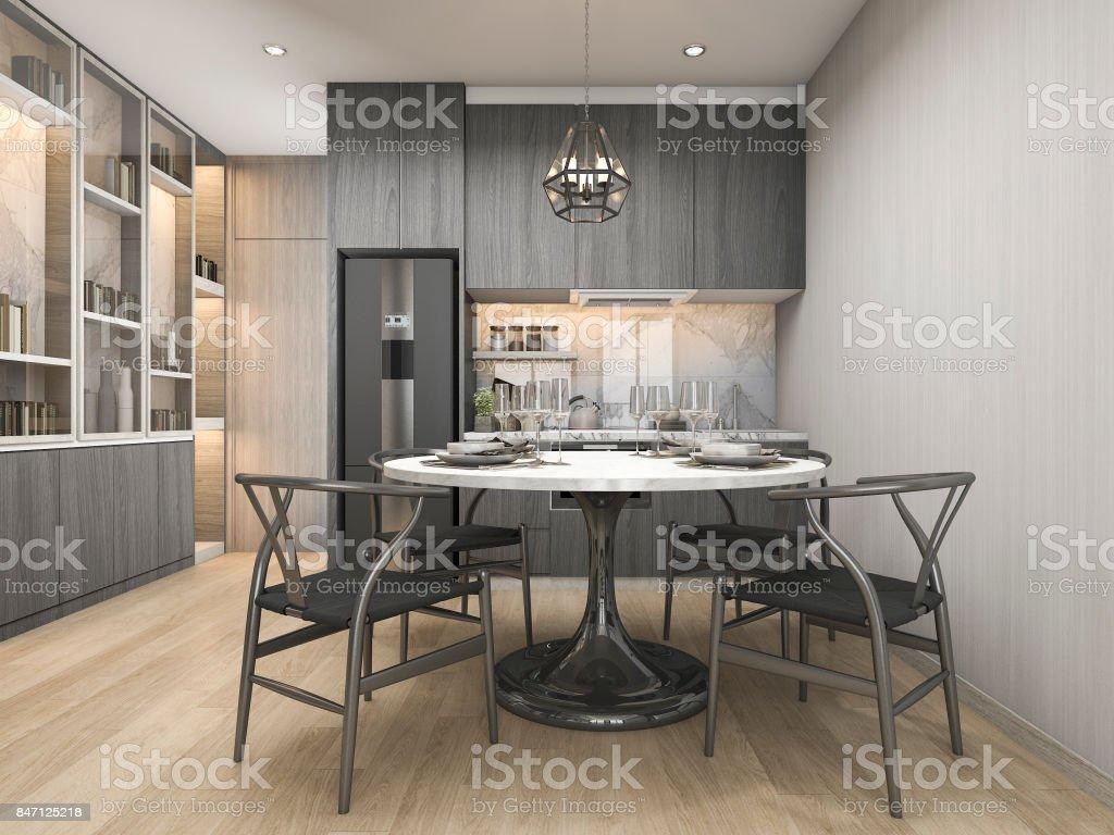 Elegant Esstisch Küche Dekoration Von 3d Rendering Weiß Moderne Und -designer-küche Mit