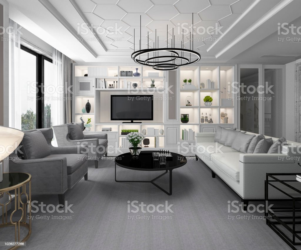 Photo libre de droit de 3d Rendu Blanc Moderne Classique ...