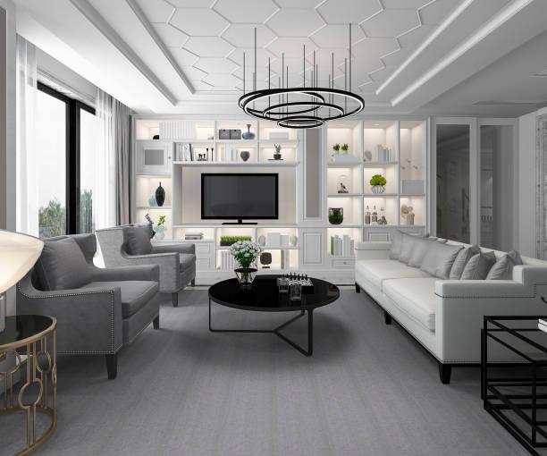 3D Rendering weiße moderne klassische Wohnzimmer mit Marmorfliesen und Bücherregal – Foto