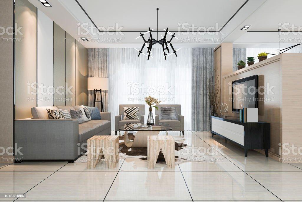 3d Rendering Weiße Moderne Klassische Wohnzimmer Mit ...
