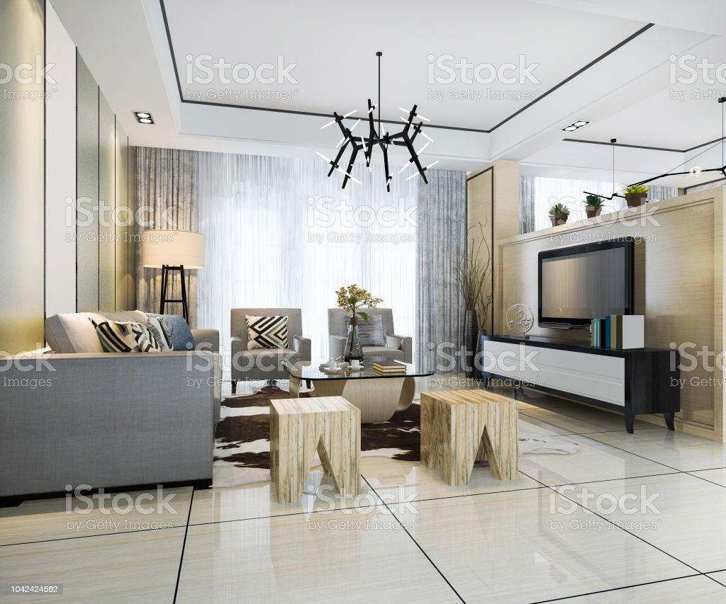Photo libre de droit de 3d Rendu Blanc Moderne Classique Salon Avec ...