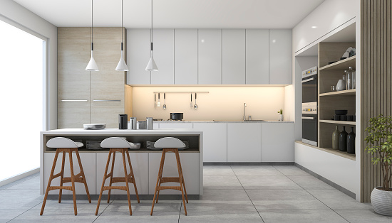 istock 3d rendering white modern design kitchen with lamp 641174506