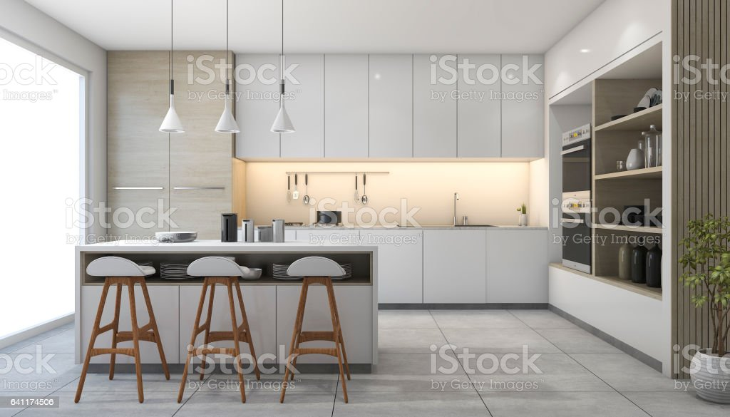 3d rendering white modern design kitchen with lamp stock photo