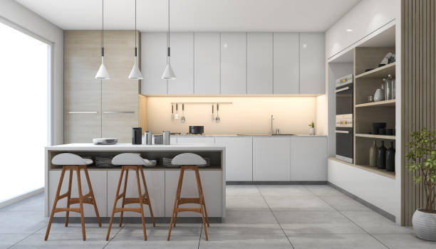 3d rendering white modern design kitchen with lamp - kitchen imagens e fotografias de stock