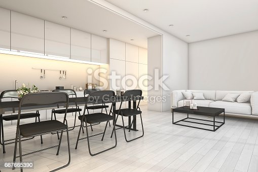 istock 3d rendering white modern kitchen and living area with dining zone 667665390