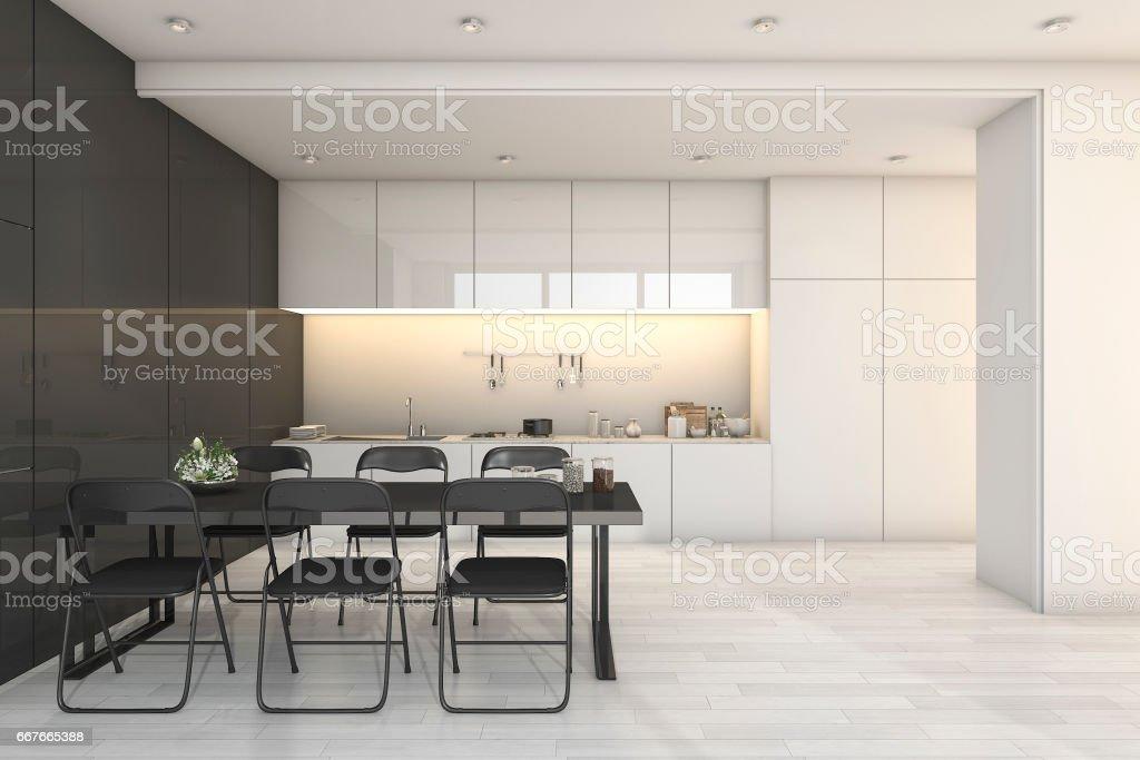 3D Rendering Weiße Moderne Küche Und Wohnzimmer Mit Essbereich Zone  Lizenzfreies Stock Foto