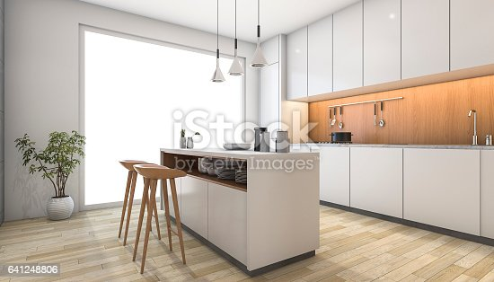 istock 3d rendering white modern kitchen with wood bar 641248806