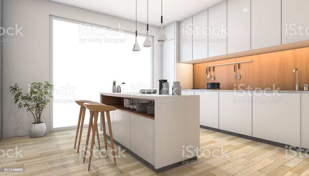 3d rendering white modern kitchen with wood bar stock photo
