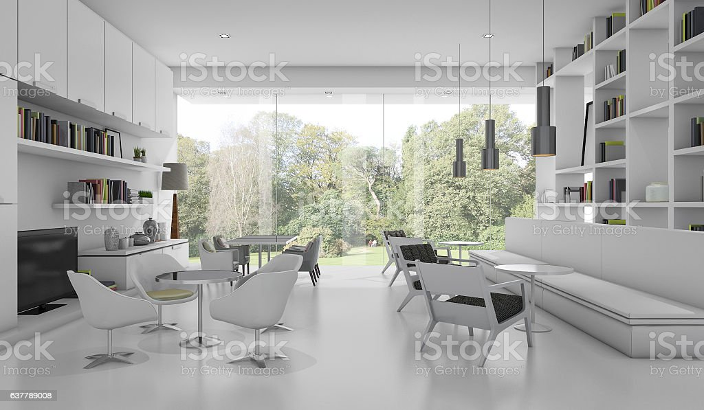 3d rendering white modern library with garden view stock photo