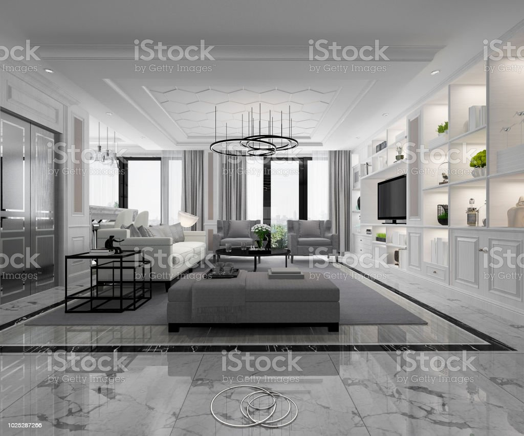 3d Rendering White Modern Living Room With Marble Tile And