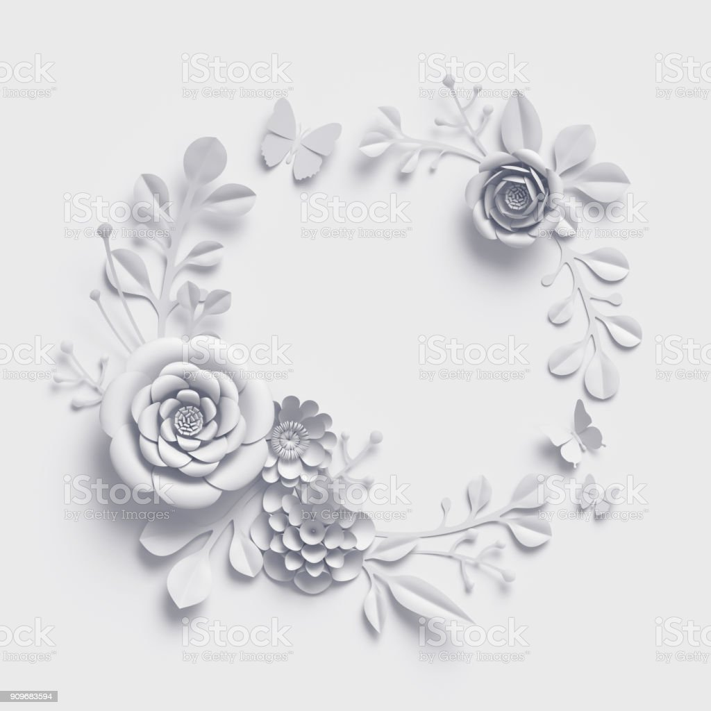Foto De Renderização 3d Fundo De Flores De Papel Branco