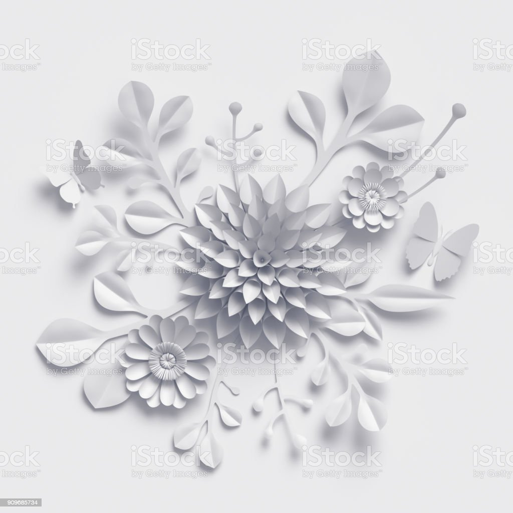 3d Rendering White Paper Flowers Background Isolated