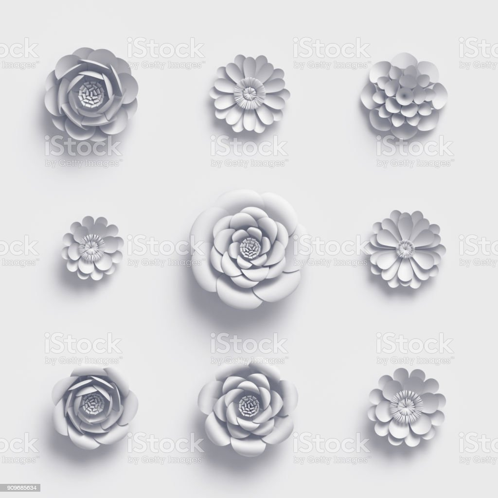 3d Rendering White Paper Flowers Isolated Design Elements Botanical