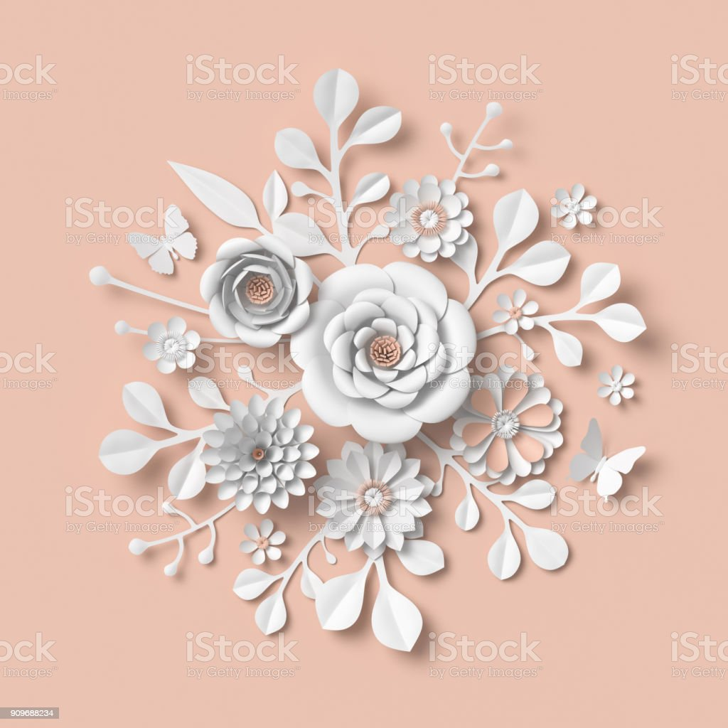 3d rendering white paper flowers isolated on pastel peach background isolated botanical clip art round bouquet round floral arrangement stock photo download image now istock 3d rendering white paper flowers isolated on pastel peach background isolated botanical clip art round bouquet round floral arrangement stock photo download image now istock
