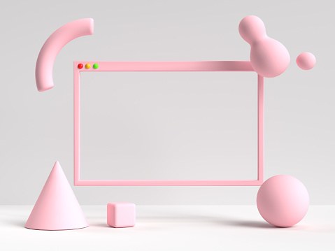 3d rendering white pink scene blank frame user interface abstract geometric shape