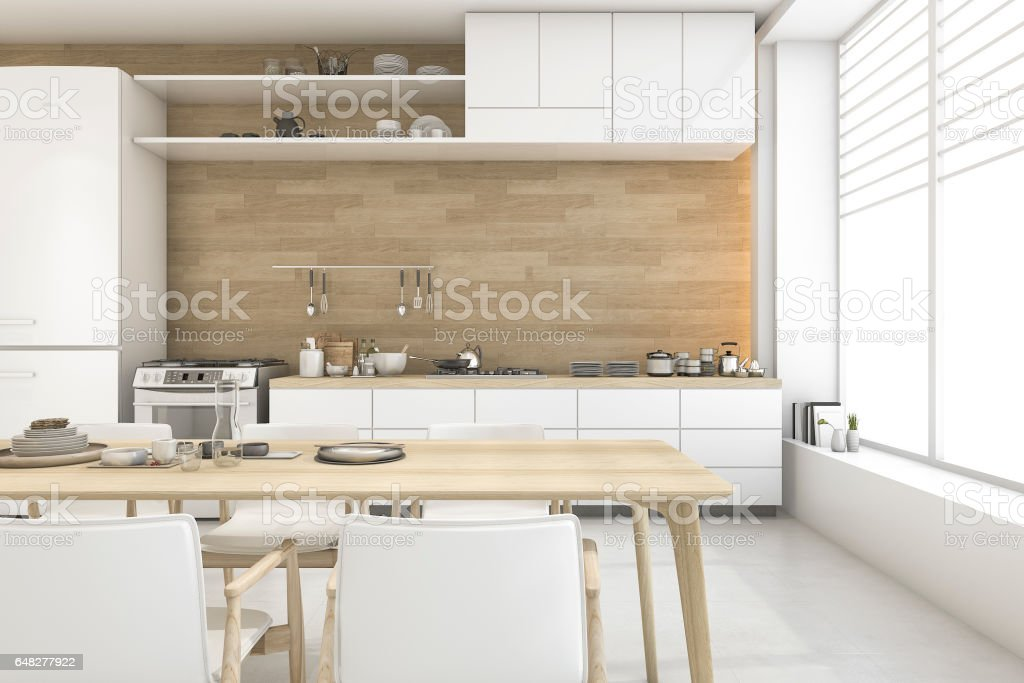 3d rendering white scandinavian style dining room and kitchen royalty free stock photo