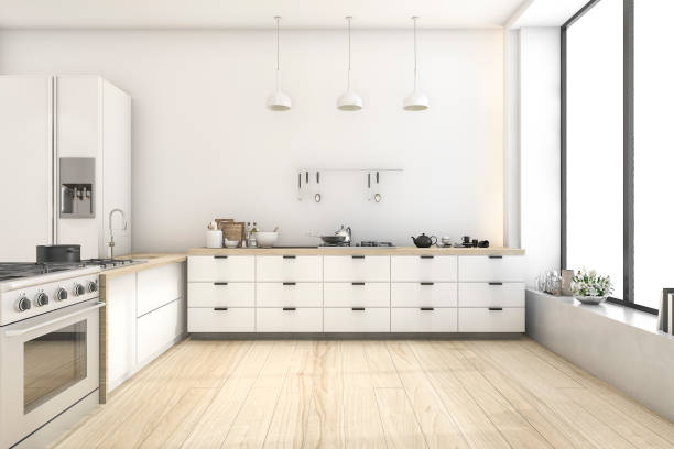 3d rendering white scandinavian style kitchen with lamp - domestic kitchen stock photos and pictures